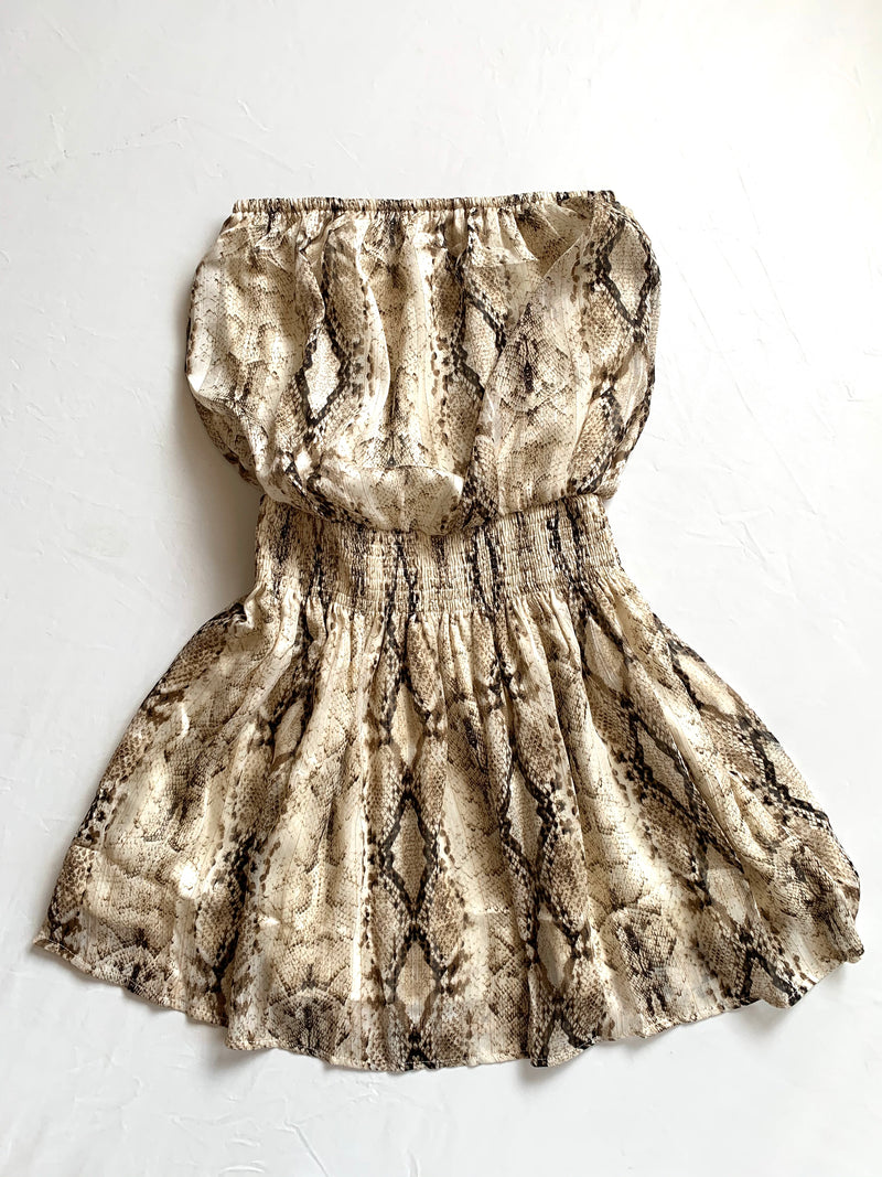 Strapless Snake Print Dress