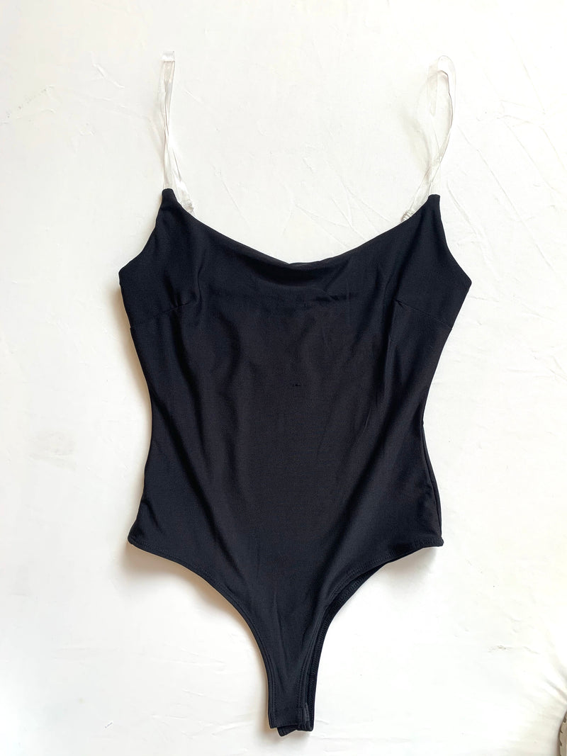 Clear Strap Bodysuit (Black)