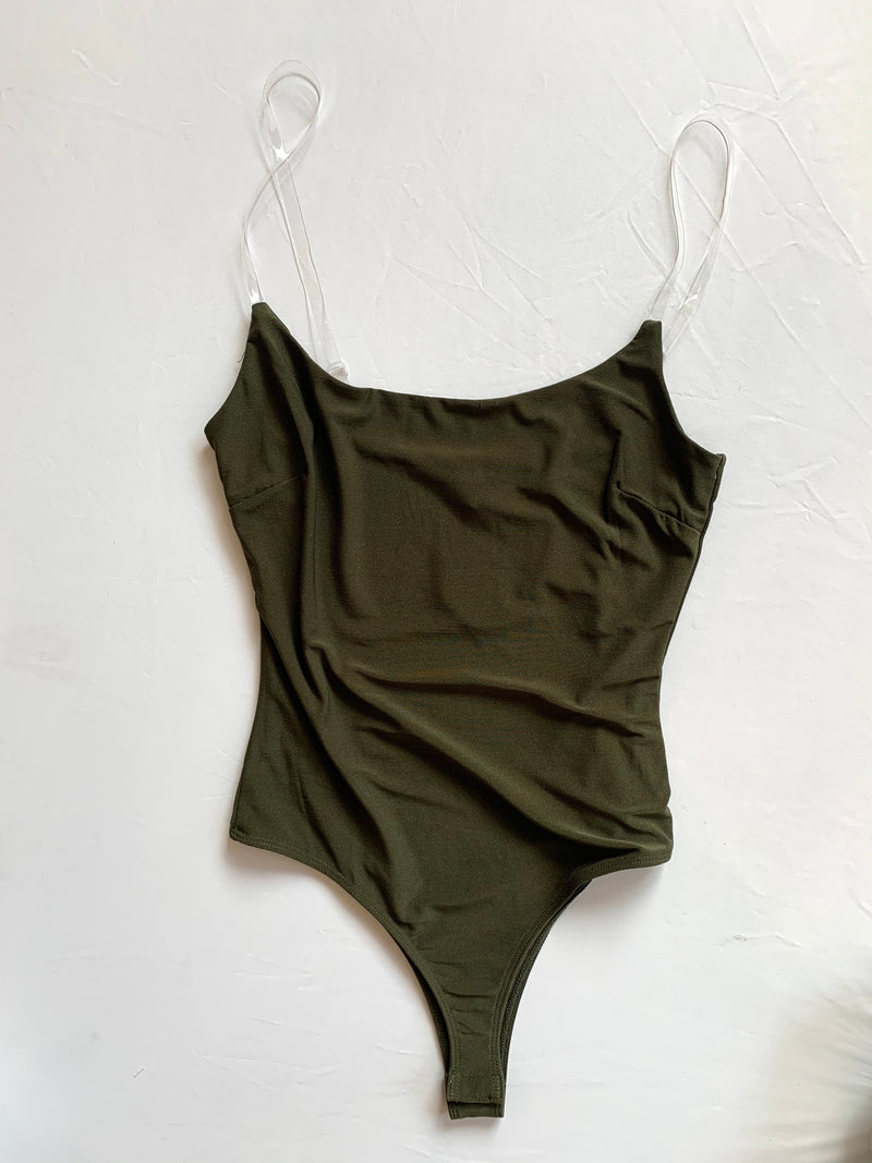 Clear Strap Bodysuit (Olive)