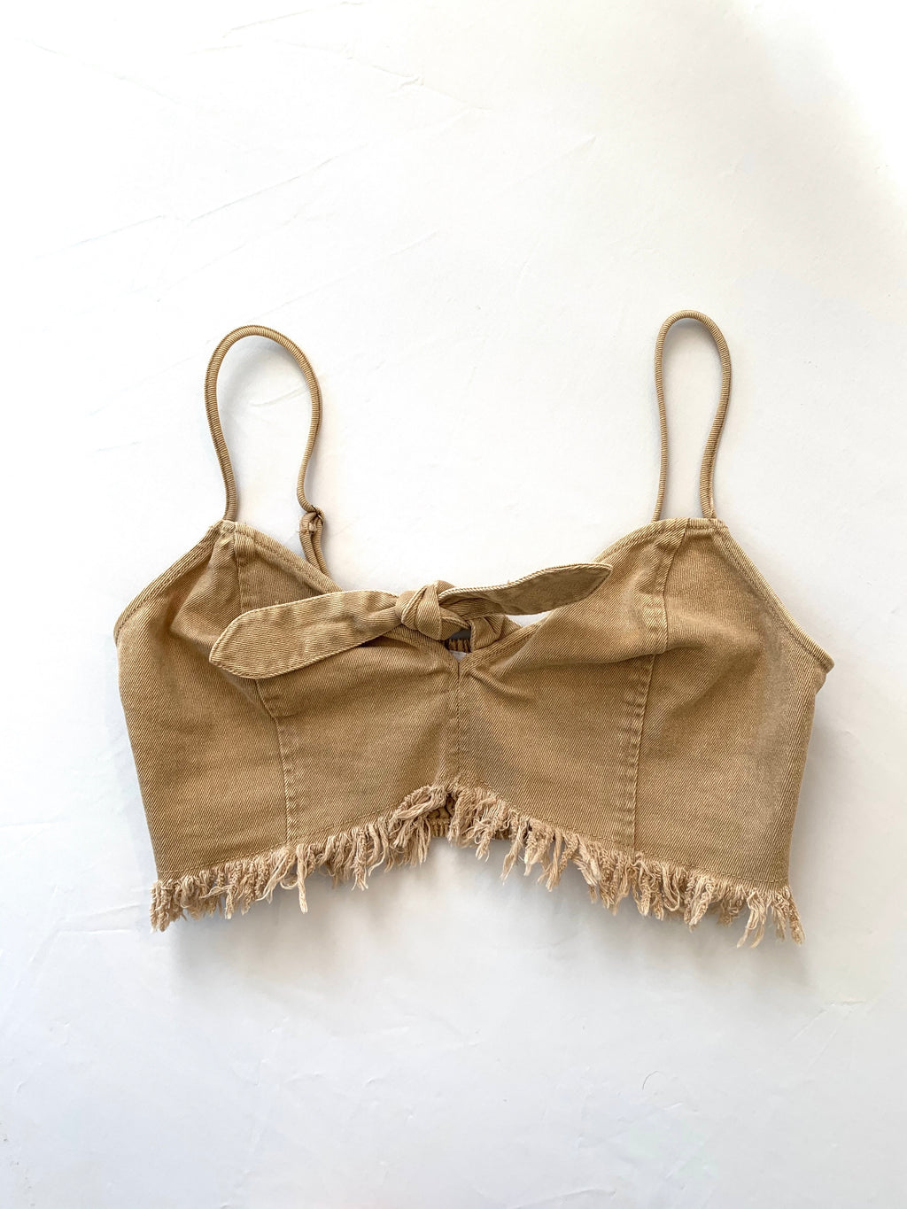 Khaki Denim Crop Top