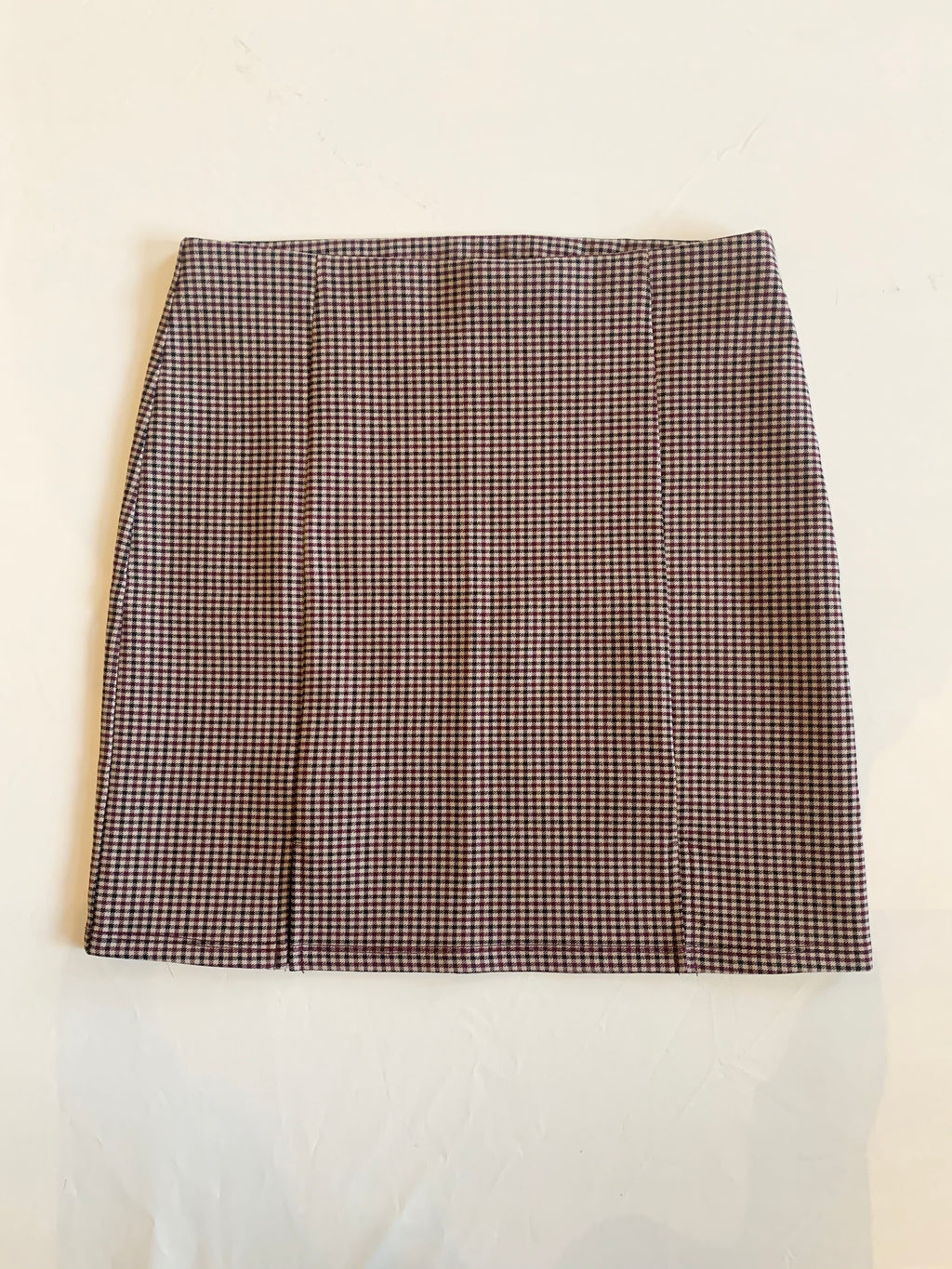Plaid Pencil Skirt (Burgundy)