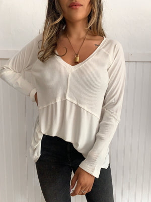 Knit Ribbed Long Sleeve (White)