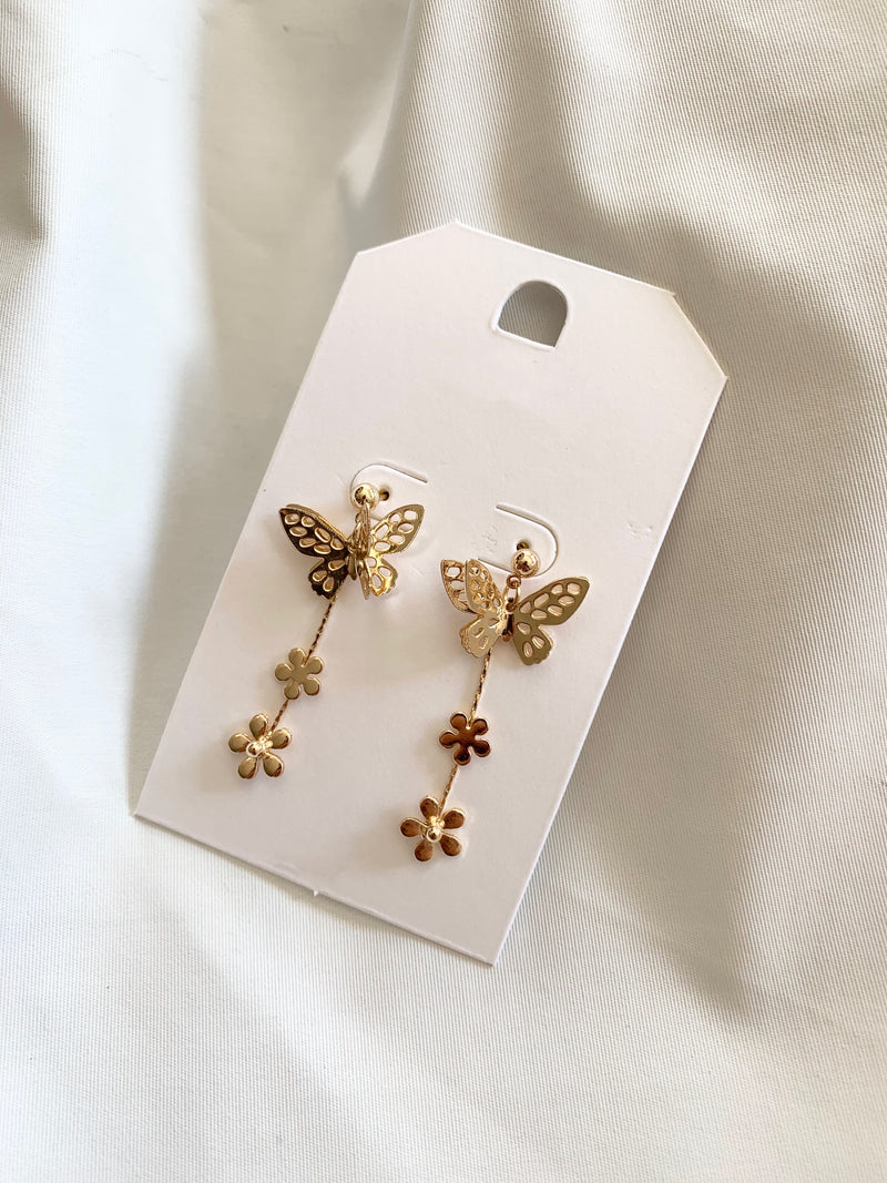 Gold Butterfly Dangle Earing