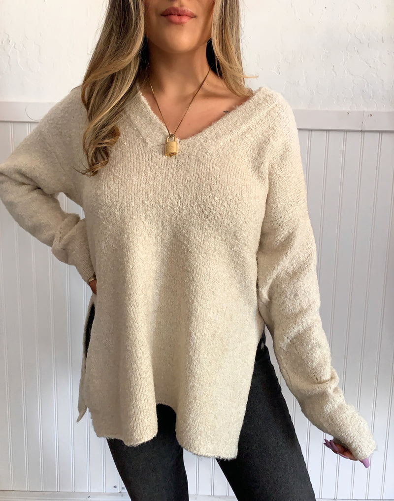 Plunge Neck Sweater (Alpaca)