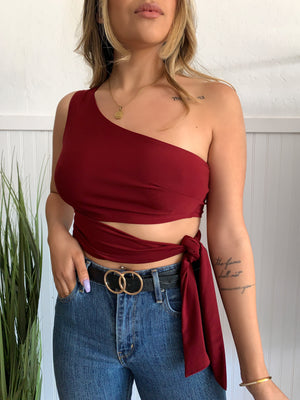 One Shoulder Tie Top (Wine)