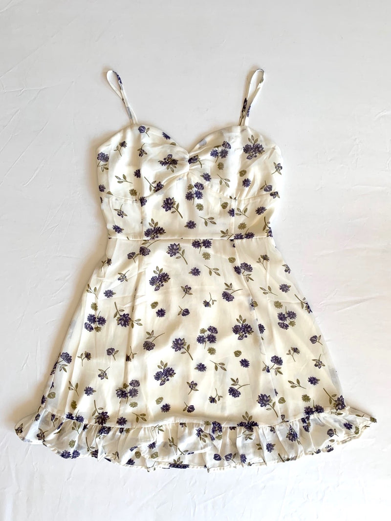 Ivory/Purple Floral Dress