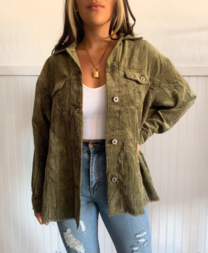 Corduroy Button Up (Olive)