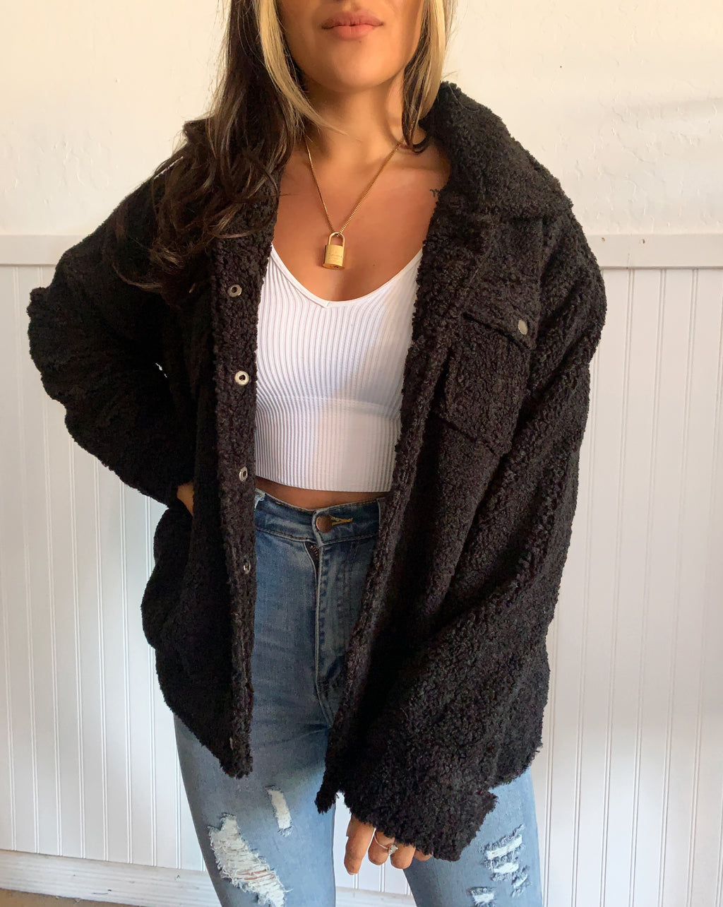 Faux Fur Jacket (Black)