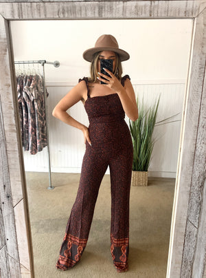 Burgundy Printed Jumpsuit