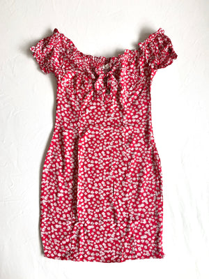 Alyssa Floral Dress (Berry Red)