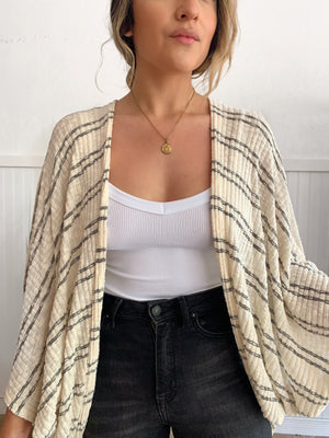Stripe Knit Loose Cardigan