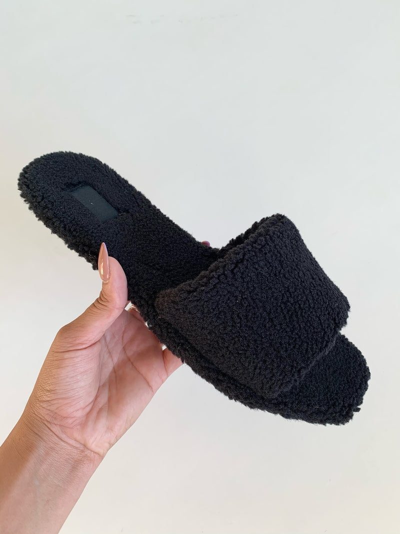 Teddy Slippers (Black)