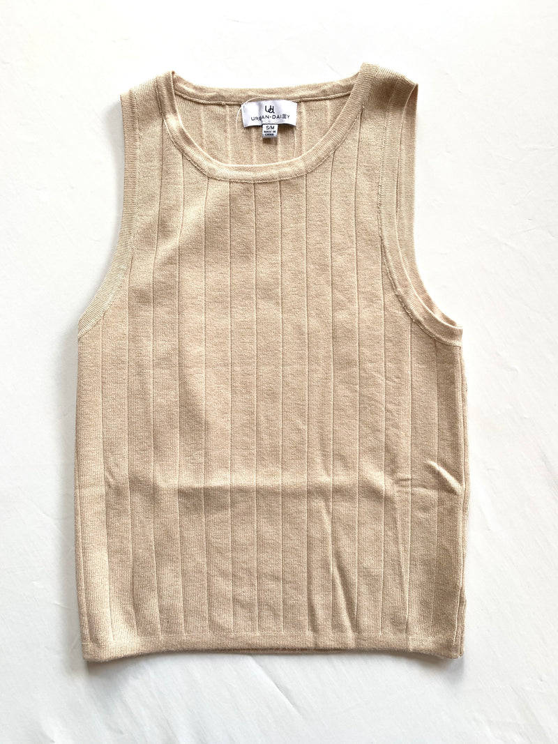 Knit Ribbed Tank (Biege)