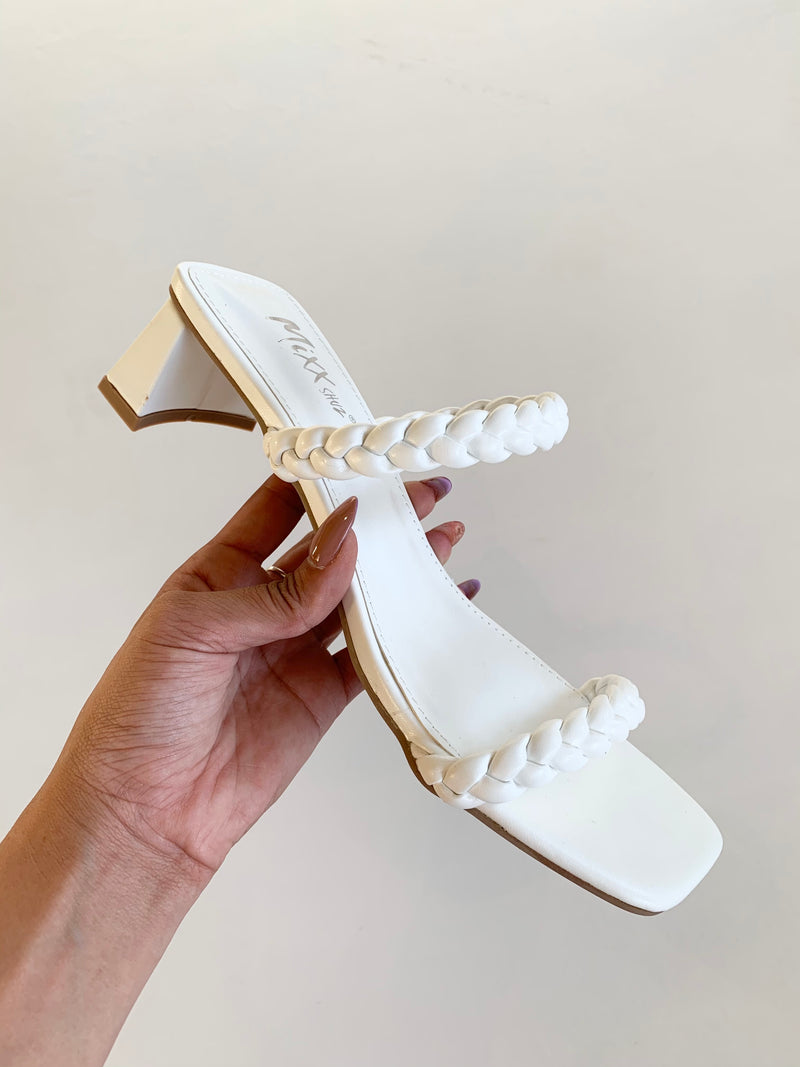 Braided Square Heel (White)
