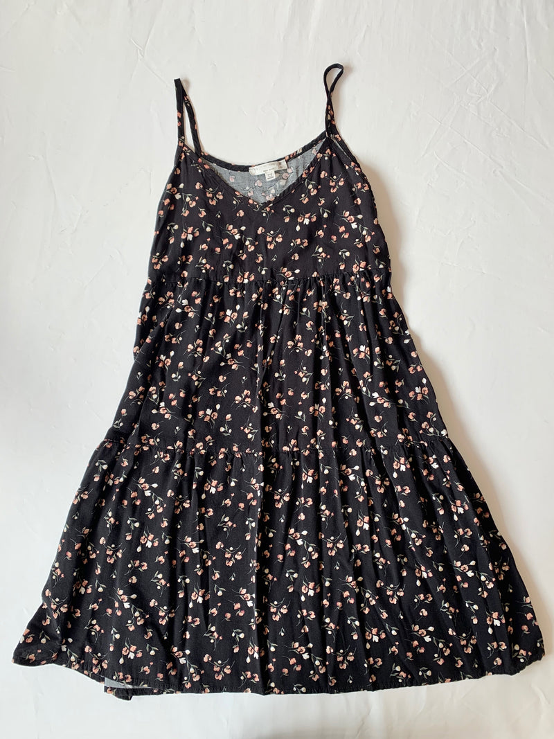 Black Floral Baby Doll Dress