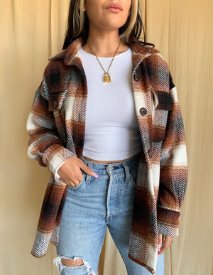 Paulette Plaid Jacket (Brown)