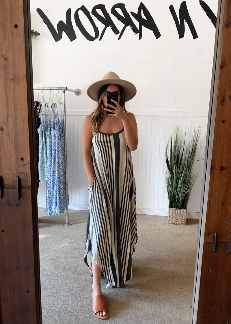 Stripe Hem Maxi Dress