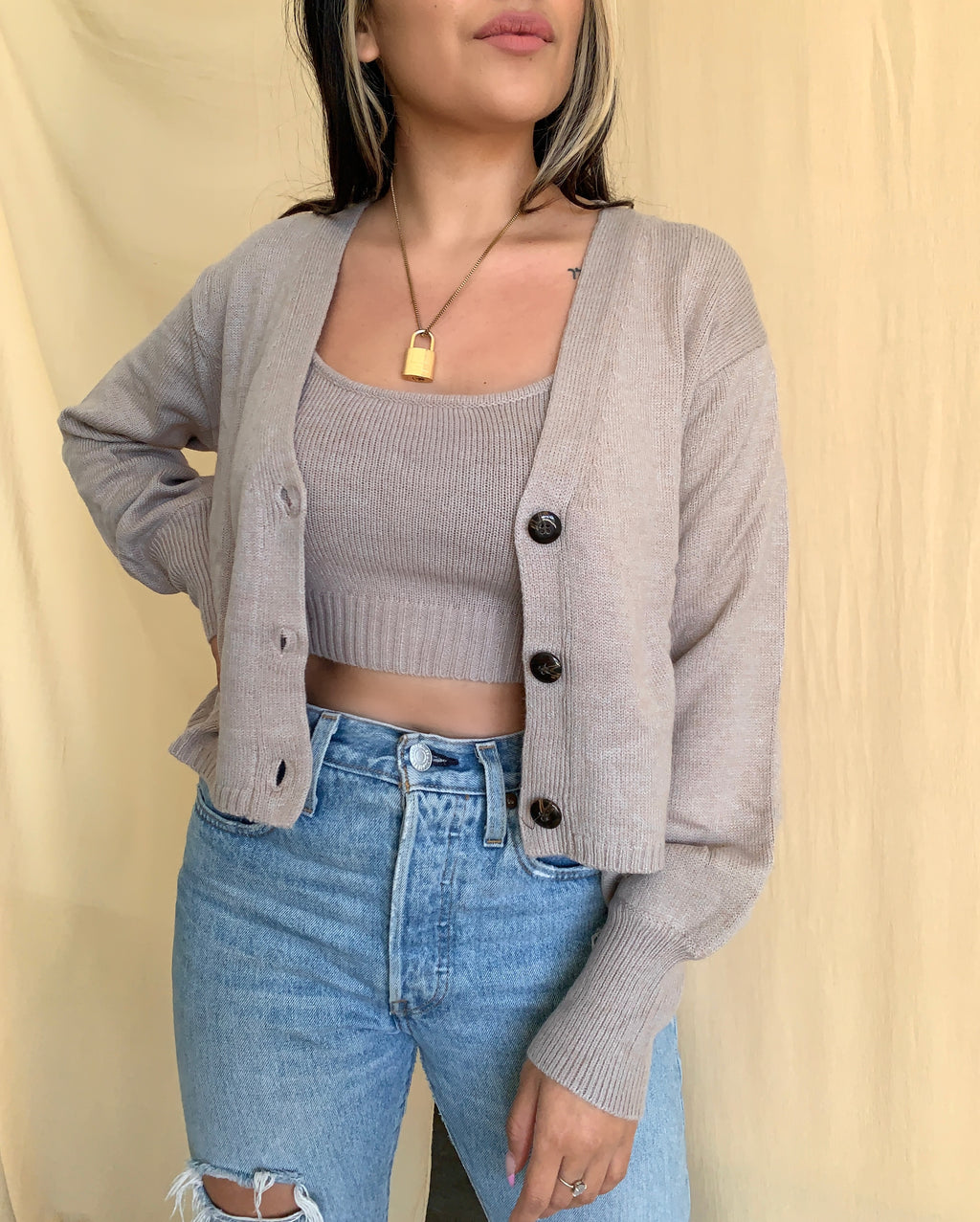 Shelby Sweater Set (Taupe)