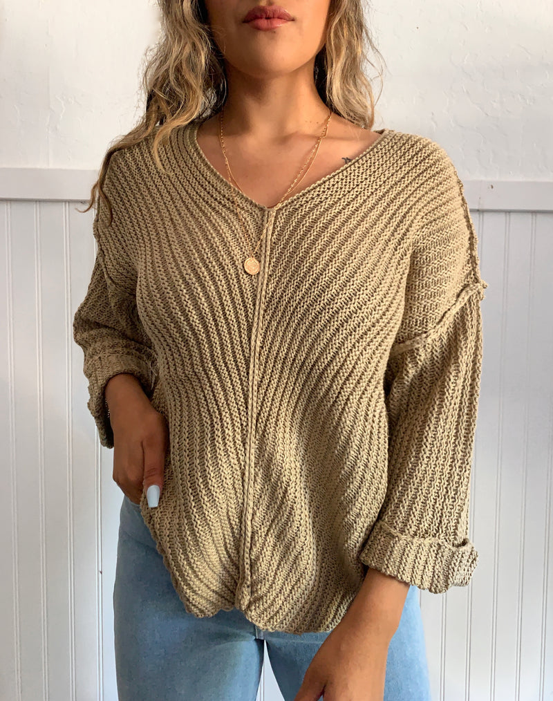 Cuff Knit Sweater (Taupe)