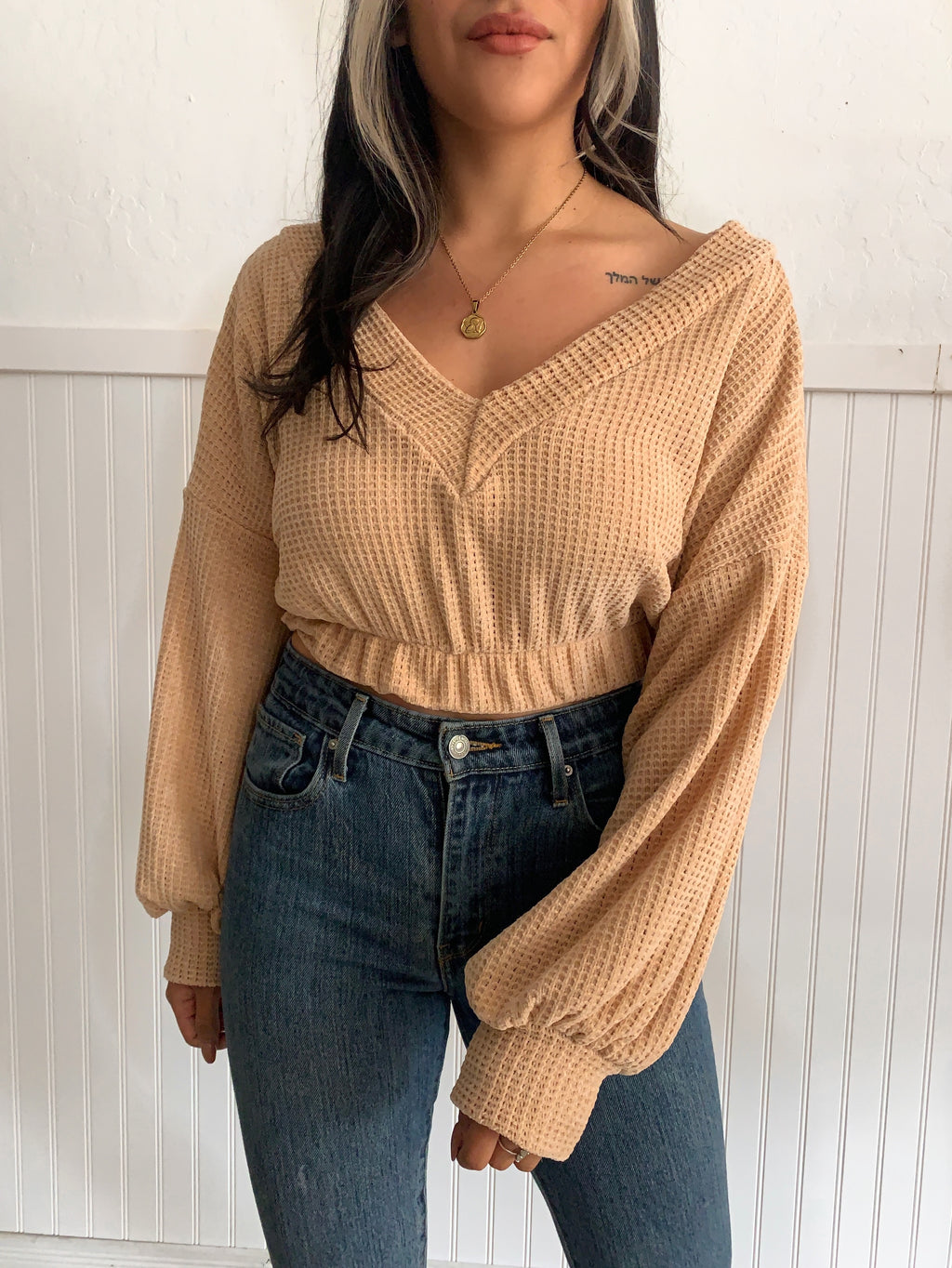 Cable Knit Sweater (Blush)