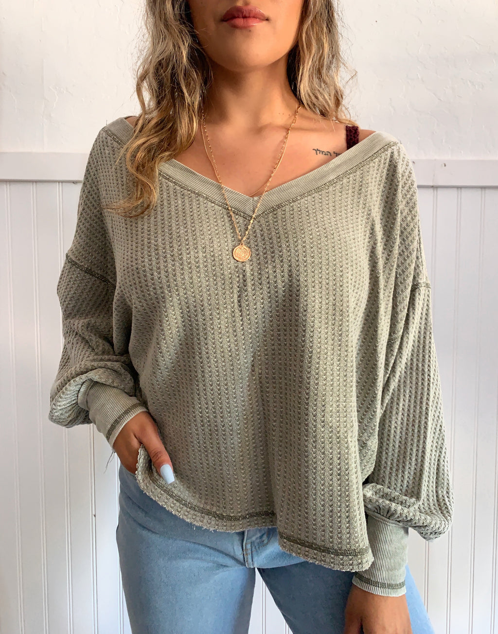 Whitney Knit Top (Olive)
