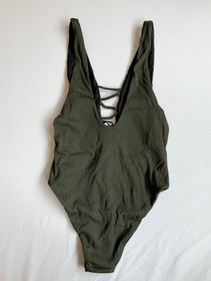 Olive Laced Up One Piece