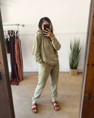 Olive Velvet Sweatpants