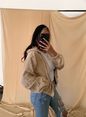 Corduroy Zip Up Cropped Jacket