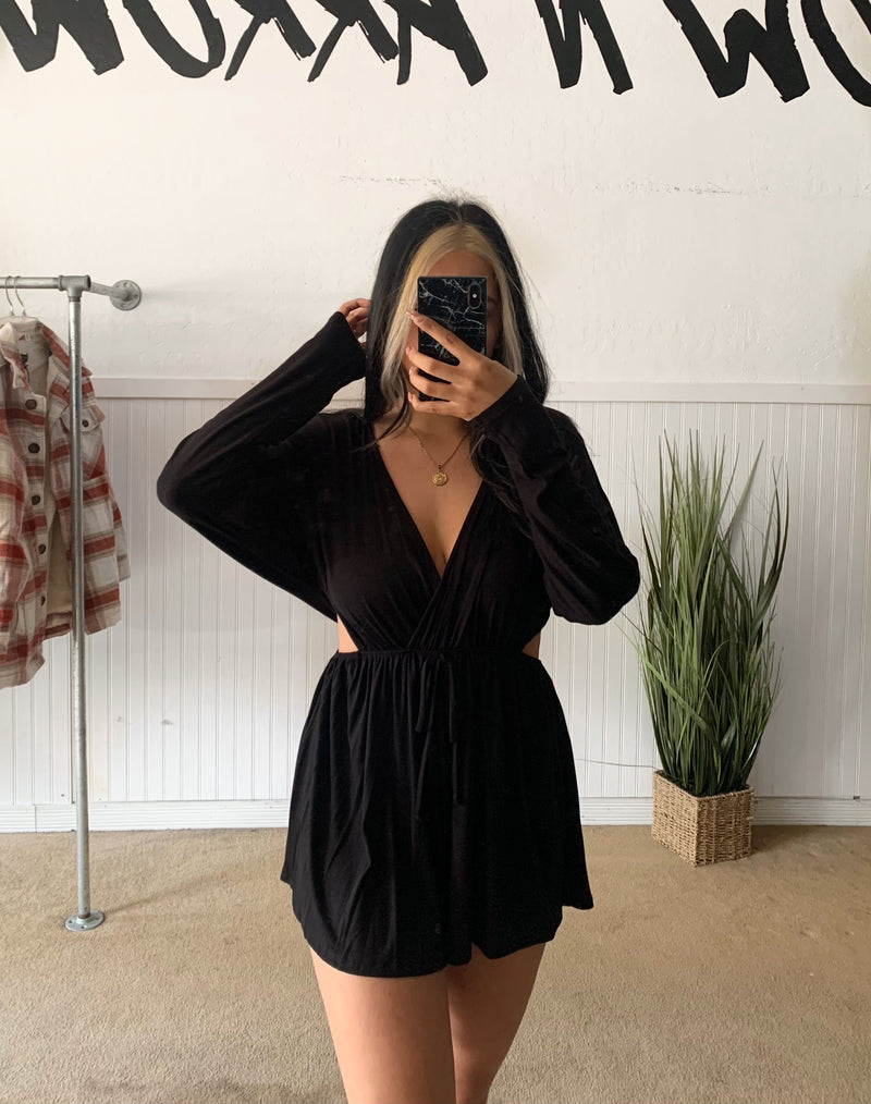 Sleeve Side Cut Romper (Black)