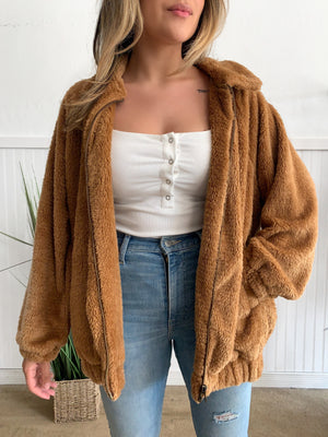 Camel Kim Fur Jacket