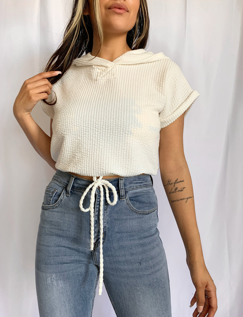 Karla Cropped Hoodie (White)