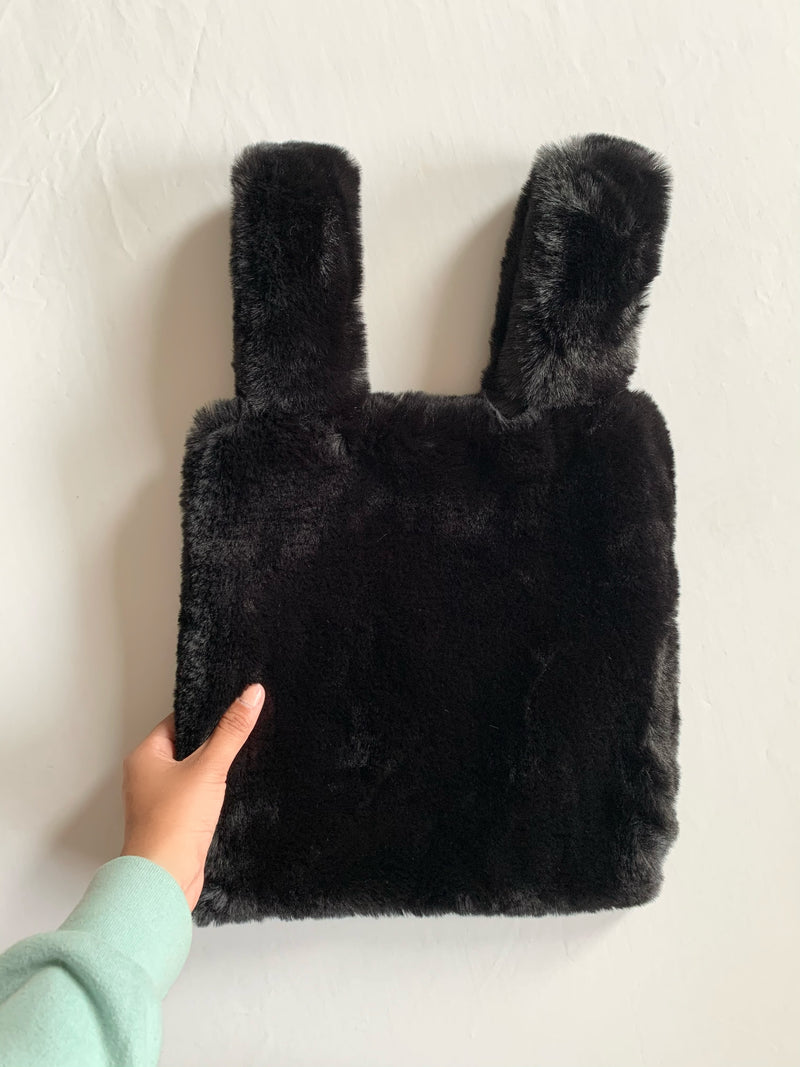 Soft Teddy Tote Bag (Black)