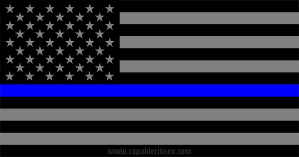 US Flag Sticker - Thin Blue Line