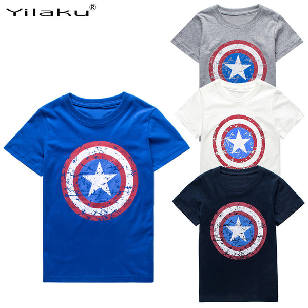 Captain America Short  Sleeve Boys Tee - Charis Kids Boutique,   - Kids clothes