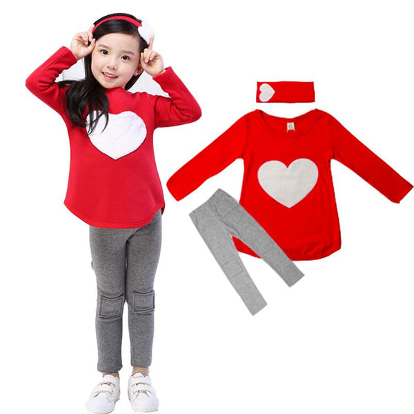 3PC Girls Heart Set - Charis Kids Boutique,   - Kids clothes