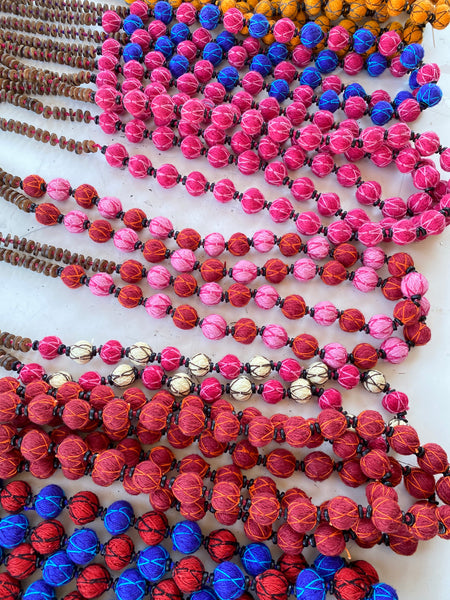 Assorted fabric mala bead necklaces