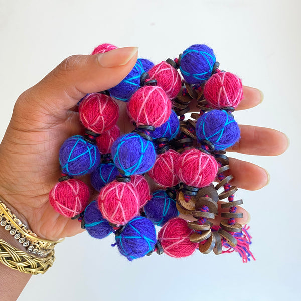 Periwinkle and pink beads