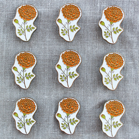 Marigold Enamel Pin - October Birth Flower