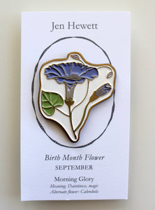 Morning Glory Enamel Pin - September Birth Flower
