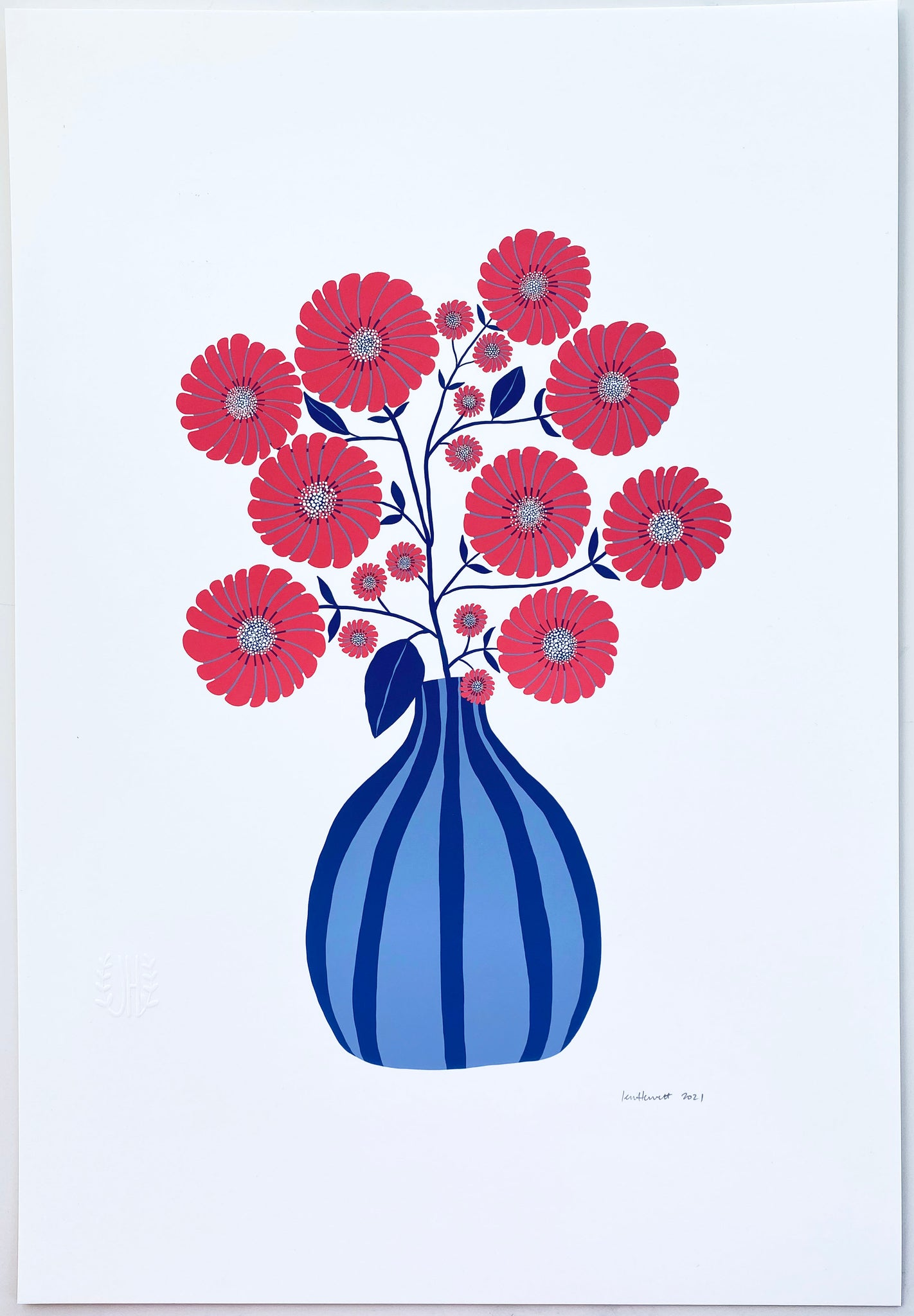 Strawflowers Print in Red