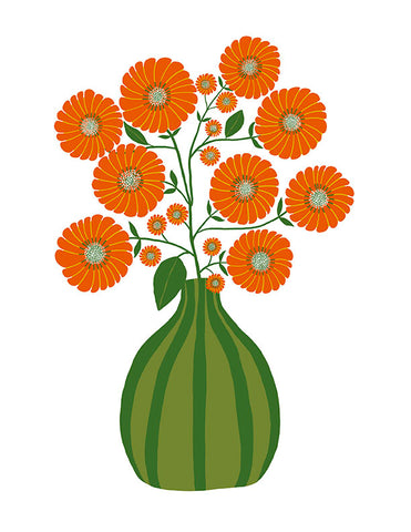 Strawflowers Print in Orange