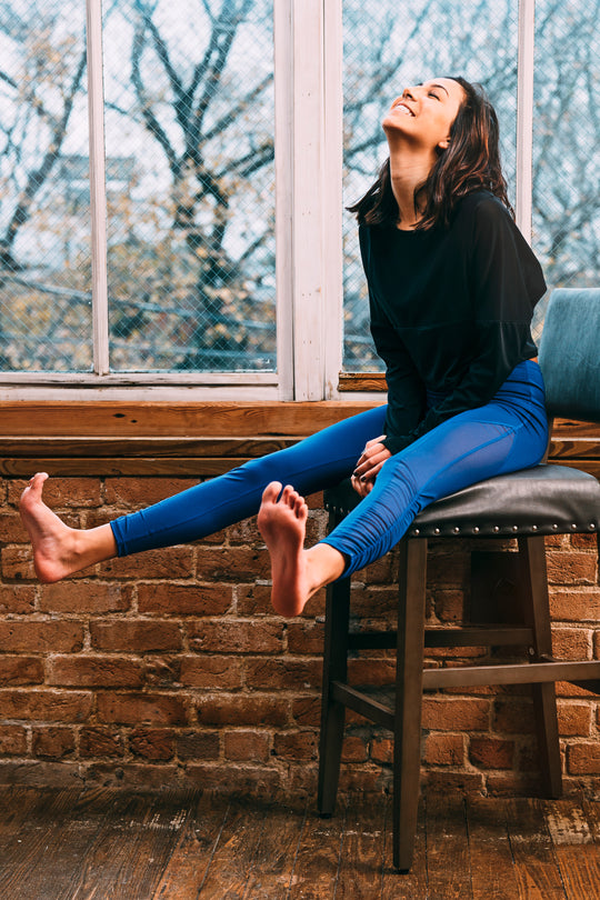 Grit & Zest Athleisure blue mesh leggings