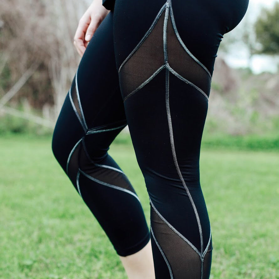 Black Swirl Capris, Mesh Capri Leggings | Shop Unique Athleisure Wear | Grit & Zest