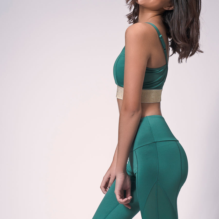 Emerald Green/Gold Glitter Valley Sports Bra, Emerald Green Sports Bra | Select Orders Ship Free | Grit & Zest