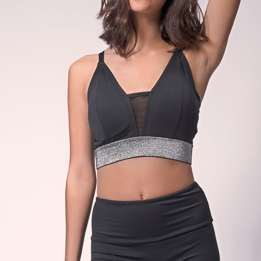 Black/Silver Glitter Valley Sports Bra, Strappy Yoga Bra | Shop Today for Glitter Bras at Grit & Zest