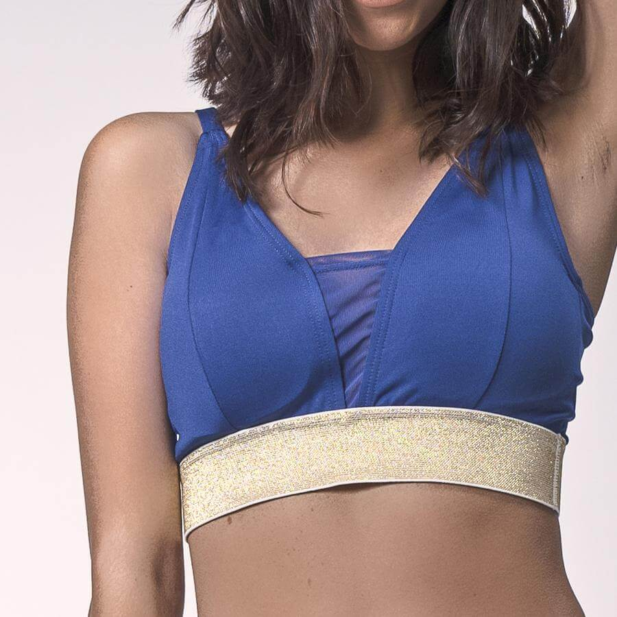 Sapphire/Gold Glitter Valley Sports Bra, Adjustable Sports Bra | Shop Grit & Zest Today For The Perfect Fit