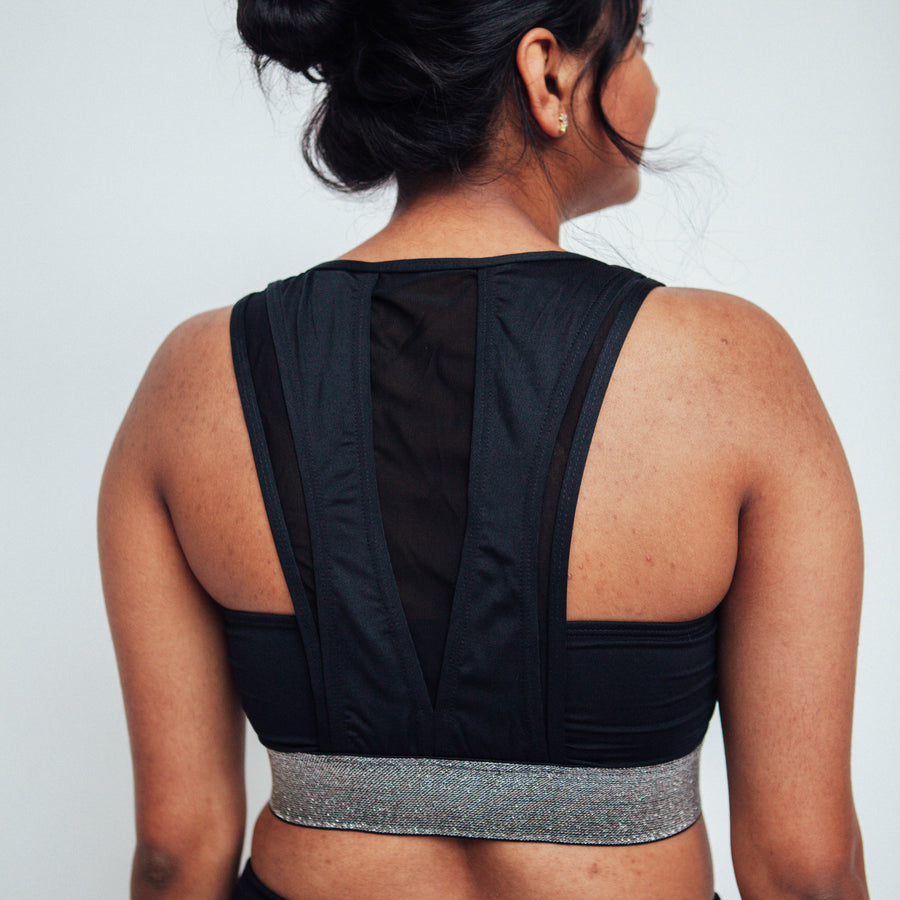 Black/Silver Glitter Cleft Sports Bra, Cutout Sports Bra | Shop Breathable Sports Bras at Grit & Zest