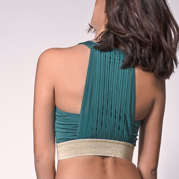 Emerald/Gold Glitter Boom Sports Bra, Emerald Sports Bra | Anti-Wicking Athleisure Wear | Grit & Zest