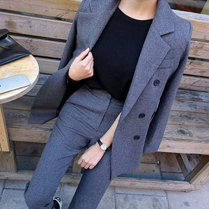 Double Breasted Jacket and Long Pant Suit