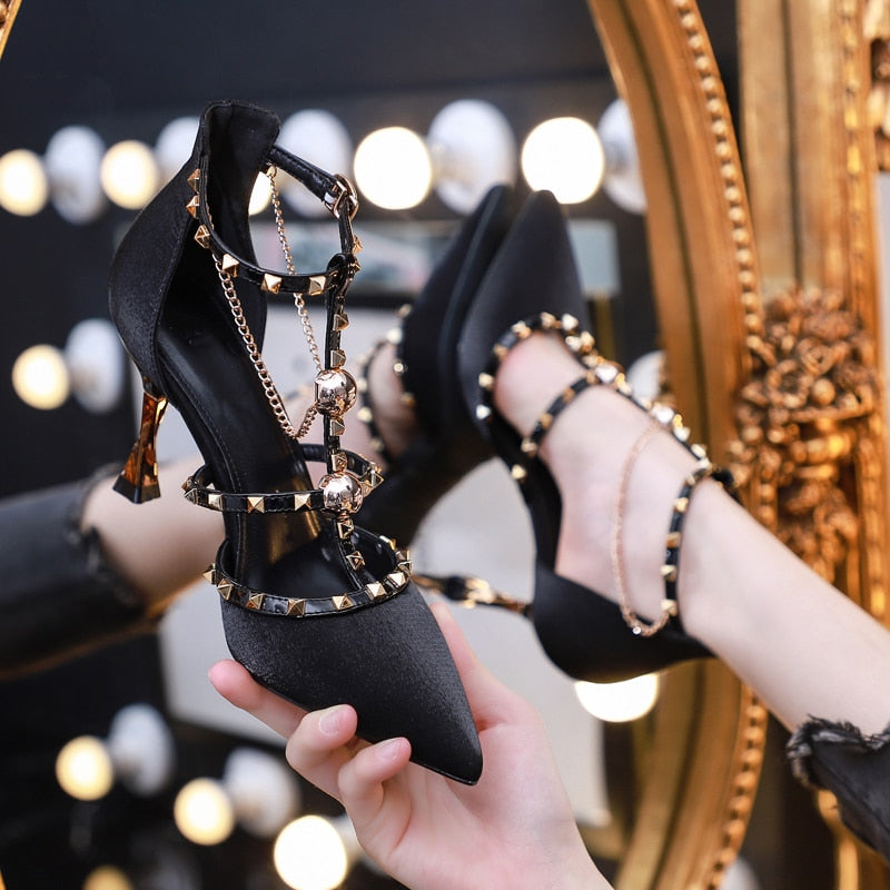Rivets Chain Stilettos